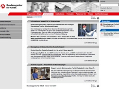 Screenshot der Startseite der Bundesagentur für Arbeit